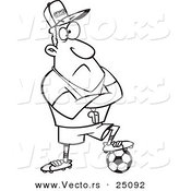 Vector of a Cartoon Coach Man Resting a Foot on a Soccer Ball - Outlined Coloring Page by Ron Leishman