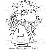 Vector of a Cartoon Cold Winter Man Standing in the Snow with Frozen Snot - Coloring Page Outline by Toonaday
