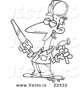 Vector of a Cartoon Construction Guy Holding a Hammer and Saw - Coloring Page Outline by Toonaday