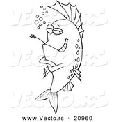 Vector of a Cartoon Cool Fish Chewing on Straw - Coloring Page Outline by Toonaday