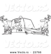 Vector of a Cartoon Cops with a Robber in a Squad Car - Coloring Page Outline by Ron Leishman