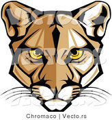 Vector of a Cartoon Cougar Face with Yellow Eyes by Chromaco