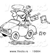Vector of a Cartoon Couple in a Car, Dropping Packages - Outlined Coloring Page by Toonaday