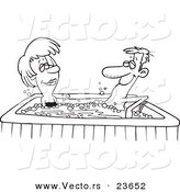 Vector of a Cartoon Couple in a Hot Tub - Coloring Page Outline by Toonaday