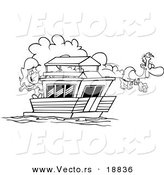 Vector of a Cartoon Couple on Their House Boat - Outlined Coloring Page by Toonaday