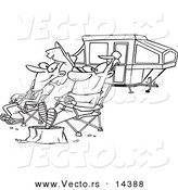 Vector of a Cartoon Couple Relaxing at a Campsite near Their Tent Trailer - Coloring Page Outline by Toonaday