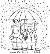 Vector of a Cartoon Couple Sharing an Umbrella in the Rain - Coloring Page Outline by Toonaday