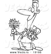 Vector of a Cartoon Courting Man Holding Flowers and a Gift - Outlined Coloring Page by Toonaday