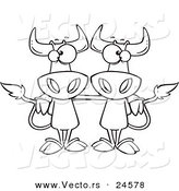 Vector of a Cartoon Cow Buddies - Outlined Coloring Page by Ron Leishman