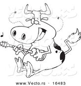 Vector of a Cartoon Cow Guitarist - Outlined Coloring Page Drawing by Toonaday