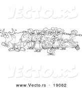 Vector of a Cartoon Cow with Eight Milking Maids - Outlined Coloring Page by Toonaday