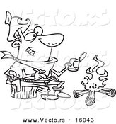 Vector of a Cartoon Cowboy Baking Beans over a Camp Fire - Coloring Page Outline by Ron Leishman
