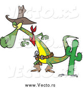 Vector of a Cartoon Cowboy Lizard Prepared to Draw His Gug by Toonaday