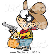 Vector of a Cartoon Cowboy Trick-Or-Treater Pointing a Gun While Grinning on Halloween by Ron Leishman