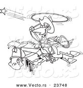 Vector of a Cartoon Cowboy Trying to Catch a Star - Coloring Page Outline by Toonaday