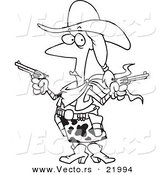 Vector of a Cartoon Cowgirl Holding Guns - Outlined Coloring Page by Toonaday