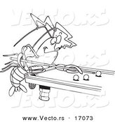 Vector of a Cartoon Crawdad Leaning over a Billiards Table - Coloring Page Outline by Toonaday