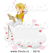 Vector of a Cartoon Cupid Girl Reading a Love Letter on a Cloud by BNP Design Studio