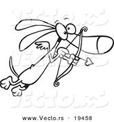 Vector of a Cartoon Cupid Wiener Dog - Outlined Coloring Page by Toonaday