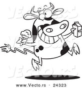 Vector of a Cartoon Dairy Cow with Ice Cream and Milk Black and White Outline - Outlined Coloring Page by Ron Leishman