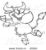 Vector of a Cartoon Dancing Cow - Coloring Page Outline by Toonaday