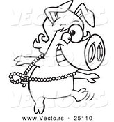 Vector of a Cartoon Dancing Pig in a Wig - Coloring Page Outline by Toonaday