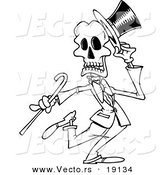 Vector of a Cartoon Dancing Skeleton - Outlined Coloring Page by Toonaday
