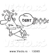 Vector of a Cartoon Debt Boxing Glove Knocking out a Man - Outlined Coloring Page by Toonaday