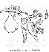 Vector of a Cartoon Delivery Stork - Coloring Page Outline by Toonaday