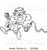 Vector of a Cartoon Dental Gopher - Coloring Page Outline by Toonaday