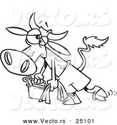 Vector of a Cartoon Depressed Cow Leaving the Beach - Coloring Page Outline by Toonaday