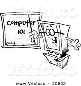 Vector of a Cartoon Desktop Computer Teaching - Coloring Page Outline by Toonaday