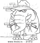 Vector of a Cartoon Detective Elephant - Outlined Coloring Page by Toonaday