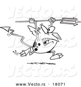 Vector of a Cartoon Devil Running with a Trident - Outlined Coloring Page by Toonaday