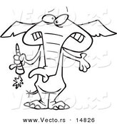 Vector of a Cartoon Dieting Elephant Trimming up by Eating Carrots - Coloring Page Outline by Toonaday
