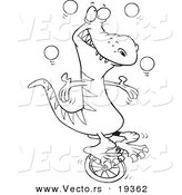 Vector of a Cartoon Dinosaur Juggling on a Unicycle - Outlined Coloring Page by Toonaday