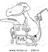 Vector of a Cartoon Dinosaur Standing by a Gas Pump - Coloring Page Outline by Toonaday