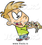 Vector of a Cartoon Dirty Blond White Boy Eating Pizza by Ron Leishman