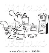 Vector of a Cartoon Disorganized Businessman in a Messy Office - Outlined Coloring Page by Toonaday