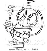 Vector of a Cartoon Diver Looking at a Hose with Bubbles - Coloring Page Outline by Toonaday