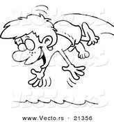 Vector of a Cartoon Diving Boy - Outlined Coloring Page by Ron Leishman