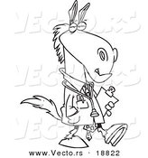 Vector of a Cartoon Doctor Horse - Outlined Coloring Page by Toonaday
