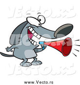 Vector of a Cartoon Dog Announcing with a Megaphone by Toonaday