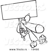Vector of a Cartoon Dog Carrying a Sign - Outlined Coloring Page by Toonaday