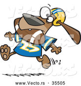 Vector of a Cartoon Dog Character Running with a Football in His Mouth by Toonaday