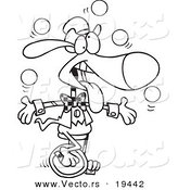 Vector of a Cartoon Dog Juggling and Unicycling - Outlined Coloring Page by Toonaday