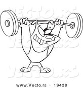 Vector of a Cartoon Dog Lifting Weights - Outlined Coloring Page by Toonaday