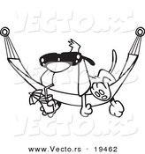 Vector of a Cartoon Dog Lounging on a Hammock - Outlined Coloring Page by Ron Leishman