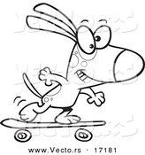 Vector of a Cartoon Dog Skateboarding - Coloring Page Outline by Toonaday