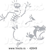 Vector of a Cartoon Dog Stealing Bone from Creepy Skeleton by Zooco